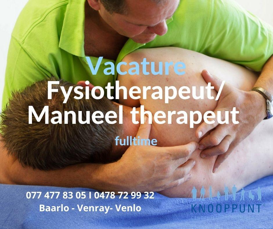 vacature fysiotherapeut manueel therapeut venlo venray